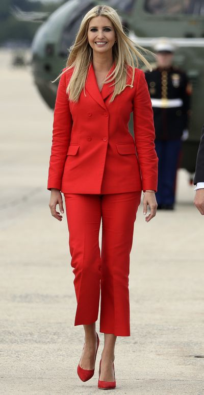 """<p><a href=""""https://style.nine.com.au/2017/09/21/14/56/style_ivanka-trump-makeover"""" target=""""_self"""" title=""""Ivanka Trump"""">Ivanka Trump</a> has stepped out in yet another <a href=""""https://style.nine.com.au/2017/03/23/11/28/ivanka-trump-stylist-wardrobe-look-fashion-donald-trump-daughter"""" target=""""_blank"""" title=""""winning outfit"""">winning outfit</a>.</p> <p>The first daughter of fashion strutted her stuff in head-to-toe red while at Andrews Air Force Base in Maryland on route to a rally in Tampa, Florida.</p> <p> The 36 year-old sported a power suit consisting of cropped red trousers and a matching red double breasted blazer. Trump accessorised her look with a pair of matching redstilettosand what looked like a red string Kabballah bracelet on her wrist.</p> <p>Just lastweek we heard the news that Trumphas closed the doors on her fashion empire, making the move from her namesake company to enter the White House as a senior adviser to her father.</p> <p>In doing so, the first daughter of fashion's brand, consisting of clothing, jewelry, shoes and handbags, became a target of political boycotts with the President's opponents urging shoppers to steer clear of the line.</p> <p>Trump denies this is the reason behind her decision to shut up shop.</p> <p>""""My focus for the foreseeable future will be the work I am doing here in Washington, so making this decision now is the only fair outcome for my team and partners,"""" rump said in a statement.</p> <p>""""I am beyond grateful for the work of our incredible team who has inspired so many women; each other and myself included. While we will not continue our mission together, I know that each of them will thrive in their next chapter,"""" she added.</p> <p>While the stylish mother of two may be saying goodbye to the brand she built from 2010, she will no doubt continue to raise the style stakes in Washington.</p> <p>Click through to take a look at all the times Ivanka Trump has hit all the right fashion notes.<br /> <br /> </p>"""