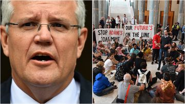 Students from across Australia have gathered in the foyer of parliament to speak with Scott Morrison about climate change.