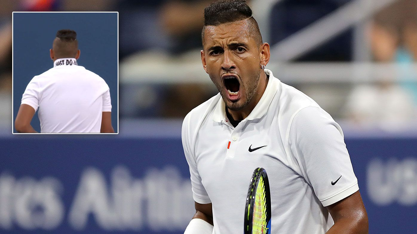 Nick Kyrgios of Australia celebrates victory during his Men's Singles second round match