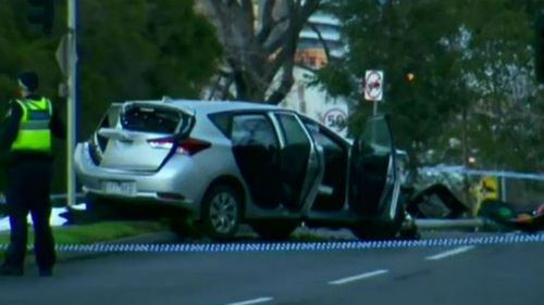 The woman died at the scene. (9NEWS)