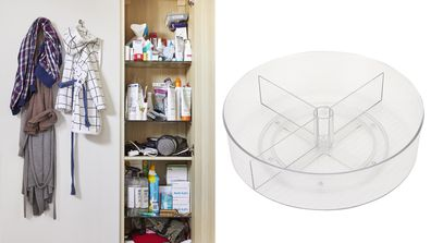 An unorganised bathroom cabinet and a lazy susan from Kmart
