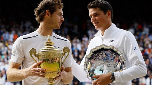 Andy Murray and Milos Raonic (AAP)