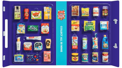 Coles Little Shop collection, miniature plastic replicas of Australian supermarket products.