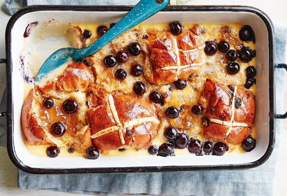 Lemon-blueberry hot cross bread and butter pudding