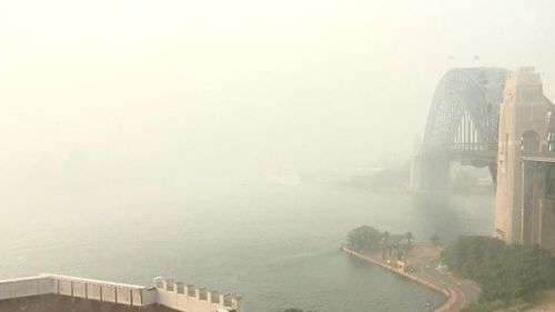 Smoke haze over Sydney Harbour.