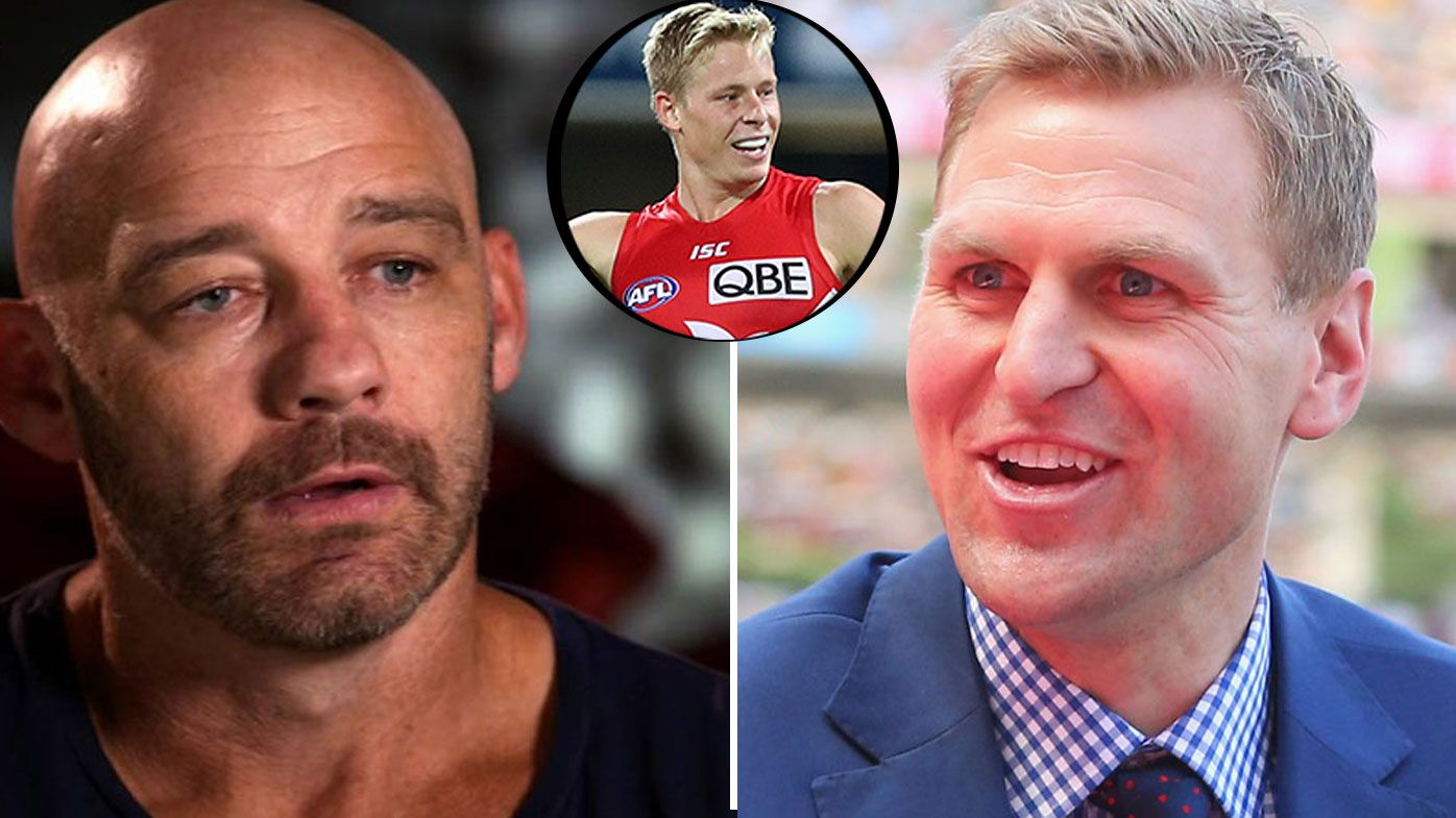 Cross-code war ignites between NRL legend Mark Geyer and AFL great Kane Cornes following Isaac Heeney social media post