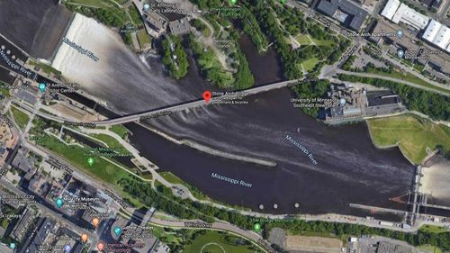 Map of Mississippi River near the Stone Arch Bridge where a man fell partly through the ice.