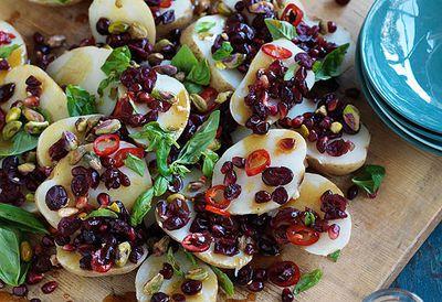 Potato, cranberry and pistachio salad