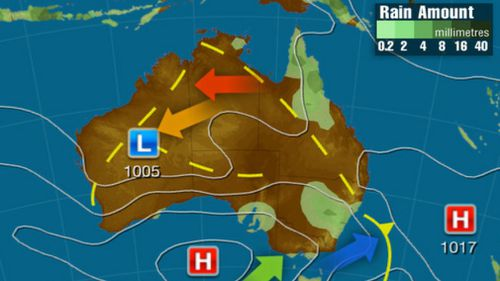 Sunday: A broad region of low pressure across the NT, QLD and NSW could produce widespread showers and thunderstorms. Another trough in the west may also generate thunderstorms while directing warm air to the south. A high is bringing settled conditions for SA. (Weatherzone)