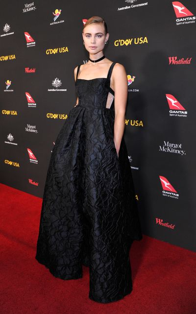 Actress Lucy Fry wearing Aussie designer Alex Perry