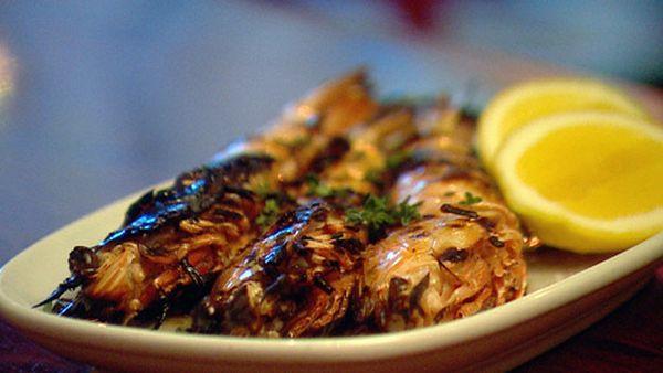 Grilled northern king prawns