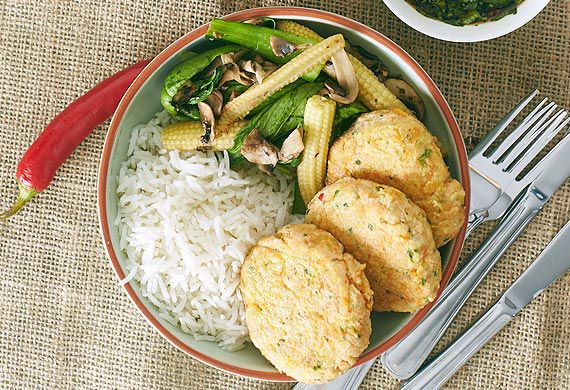 Zoe Bingley-Pullin's Thai fish cakes and stir-fry vegetables with dipping sauce