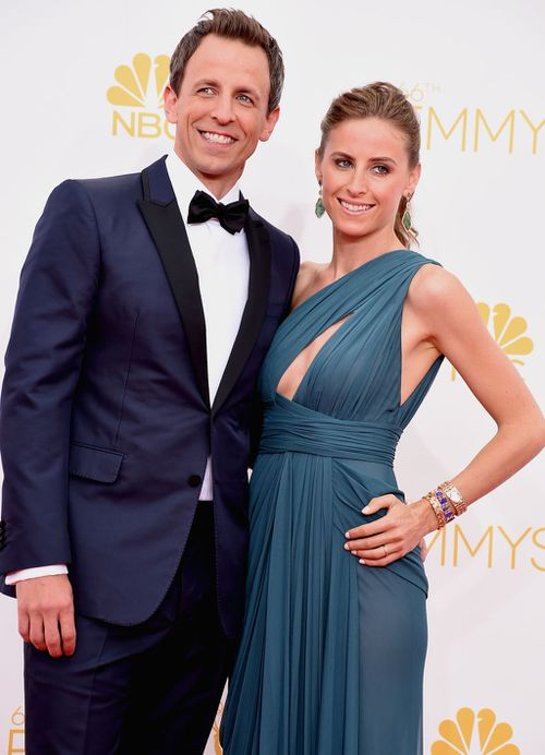 Host Seth Meyers and Alexi Ashe. (Getty Images)