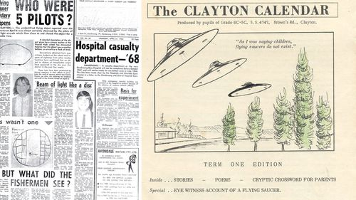 Newspaper clippings and media at the time of the 1966 incident. (Supplied)