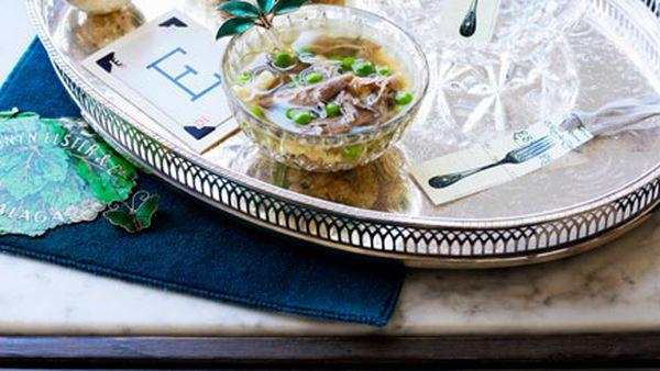 Duck broth with peas and Spätzle