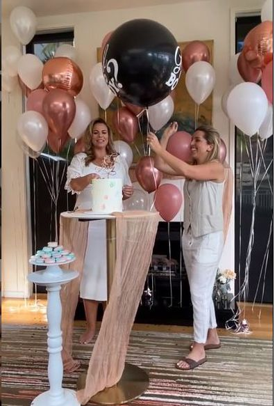 Fiona Falkiner and her fiancée, Hayley Willis host a gender reveal party.