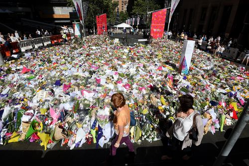The memorial to victims of the Lindt Cafe siege in Sydney, which happened in December 2014. (AAP)