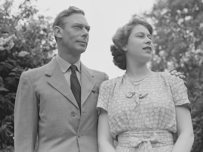 King George VI and Queen Elizabeth in the gardens at Windsor Castle, England on July 8, 1946.  (Photo by Studio Lisa/Getty Images)