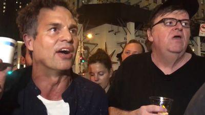 Mark Ruffalo, Michael Moore lead protest vigil outside Trump Tower