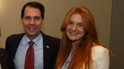 Wisconsin Governor Scott Walker with Mariia Butina. (Facebook)