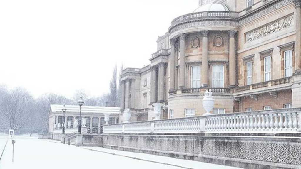 Buckingham Palace covered in snow after storm, rare image from Royal Family
