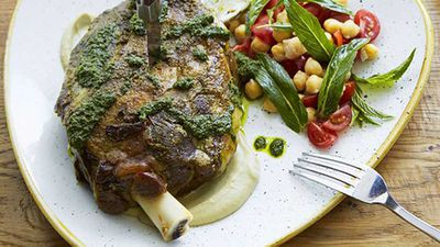 """Recipe:<a href=""""http://kitchen.nine.com.au/2016/05/20/10/05/slowroasted-moran-family-lamb-shoulder-with-chermoula-zucchini-and-mint"""" target=""""_top"""">Slow-roasted Moran family lamb shoulder with chermoula, zucchini and mint</a>"""