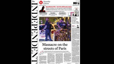 UK newspaper <em>The Independent</em> ran 'Massacre on the streets of Paris'.
