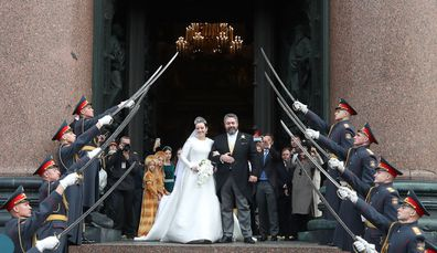 The wedding of Grand Duke George Mikhailovich of Russia and Rebecca (Victoria) Bettarini of Italy at St Isaac's Cathedral.