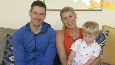 Hall appeared with her husband Ed Kavalee and their young son to emphasis the importance of exercise.