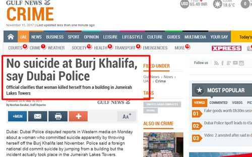 A report in Dubai newspaper, The Gulf Times, denying Laura Nunes committed suicide from Burj Khalifa.