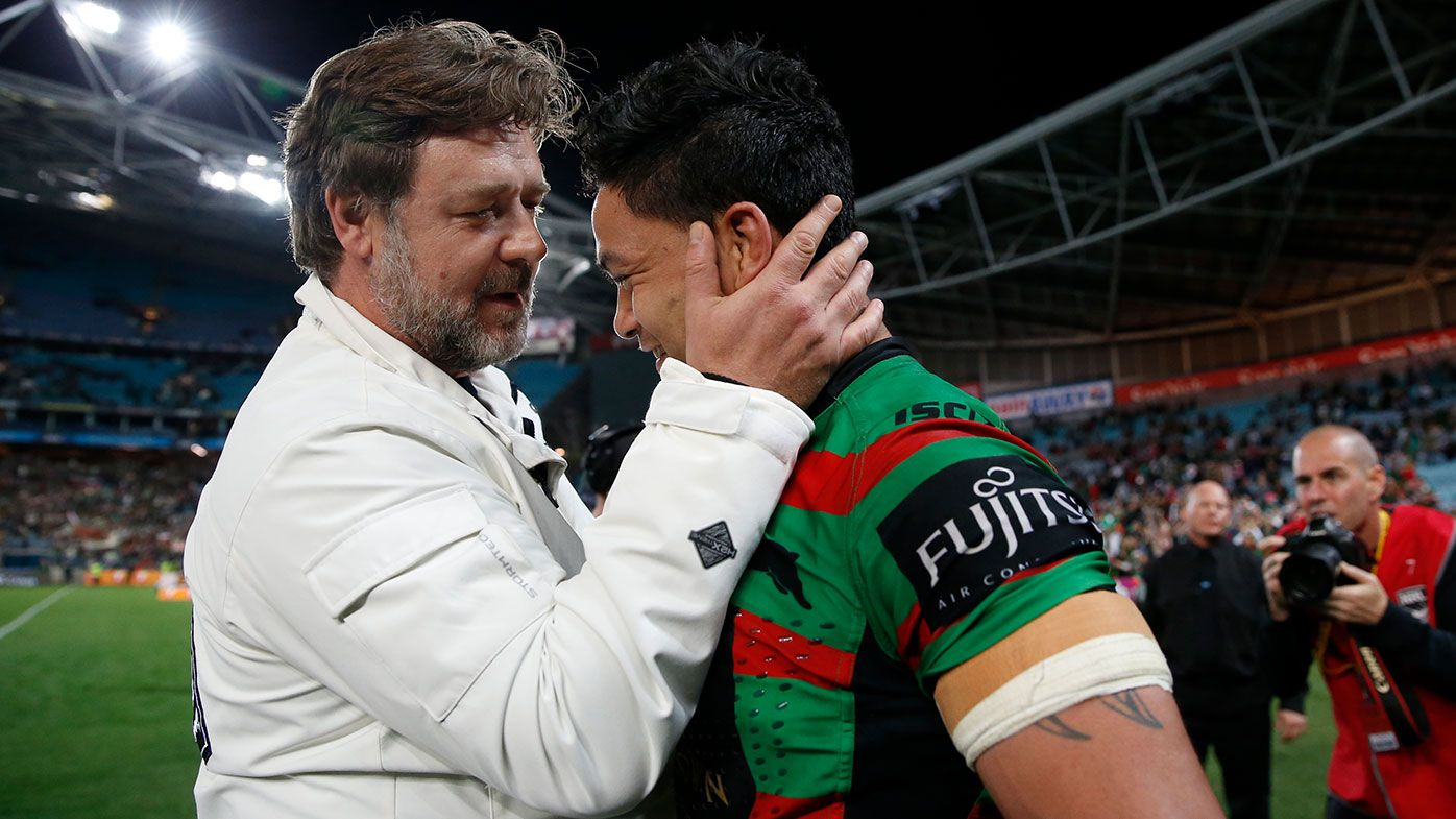 Issac Luke is congratulated by actor and part owner Russell Crowe after South Sydney's preliminary final win back in 2014