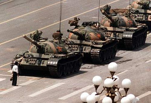 Tank Man became the icon of the Tiananmen Square massacre. Picture: AAP