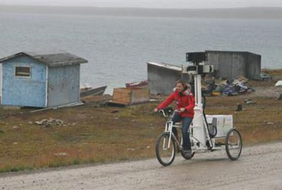 Karin Tuxen-Bettman captures images of Cambridge Bay, Nunavut, with a Google Street View tricycle. (Google)