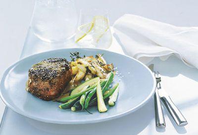 Dinner: Steak au poivre with crisp potatoes