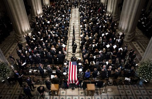 The packed Washington National Cathedral, where the funeral of George HW Bush was held.