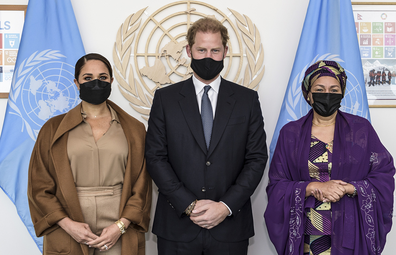 US Deputy Secretary-General Amina Mohammed, right, Meghan Markle, left, and Prince Harry stand together for a photo during a visit to UN headquarters