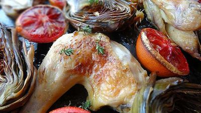 Roasted chicken with blood orange and artichokes