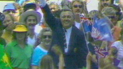Alan Bond is swept up by a sea of fans after bankrolling Australia in its victorious campaign to win the America's Cup.