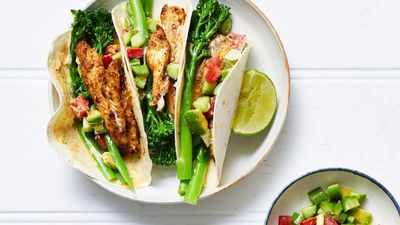"Recipe: <a href=""https://kitchen.nine.com.au/2017/11/21/09/54/spiced-fish-and-broccolini-tacos"" target=""_top"">Spiced fish and broccolini tacos</a>"