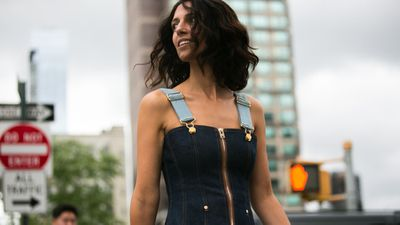 A playful denim pinafore is not just the ultimate TBT to childhood days, it's also a staple for low-fuss summer looks.