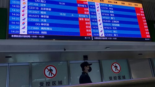 Screen shows mostly cancelled flights at Tianhe airport in Wuhan, China on January 23, 2020.