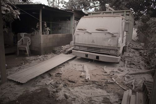 An ash-covered truck in Escuitla. Picture: AP