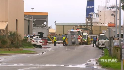 Five workers have been exposed to an ammonia leak at an industrial site at Kwinana south of Perth. Picture: 9NEWS