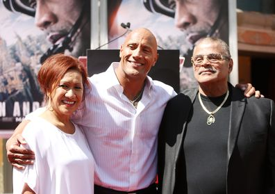 Dwayne 'The Rock' Johnson with dad Rocky Johnson in 2015, along with his mum