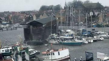 Noah's Ark replica flattens other boats during storm