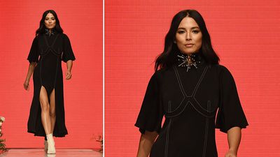 Model Jessica Gomes wears an outfit by Ellery. (AAP)