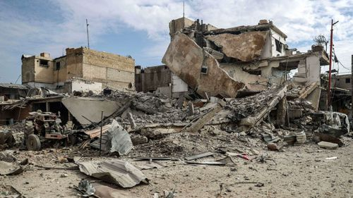 A levelled street in rebel-held  Ghouta. (AP).