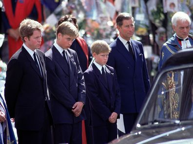 Charles Spencer with Prince Charles, Prince William and Prince Harry at Diana's funeral on 6 September 1997.