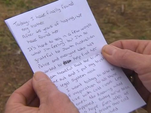 The note from Colleen Adam's daughter which was read by police.