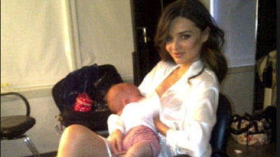 Miranda Kerr with son Oscar ahead of a fashion shoot.